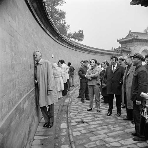 Prime Minister Gough Whitlam visits the Echo Wall, which surrounds the Imperial Vault of Heaven in the Temple of Heaven in Beijing, 1973. Source: National Archives of Australia